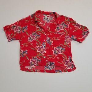 Forever 21 Hawaiian Shirt Crop Top